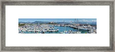Antibes Fort Carre And Port Vauban - Panoramic Framed Print by Melanie Viola
