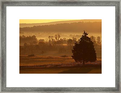 Antietam National Battlefield At Sunrise Framed Print