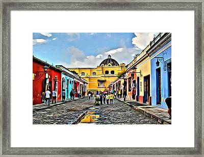 Antigua Street Framed Print by Anthony C Chen