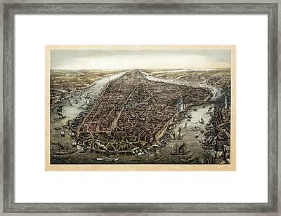 Antique 1873 Map Of Manhattan Framed Print