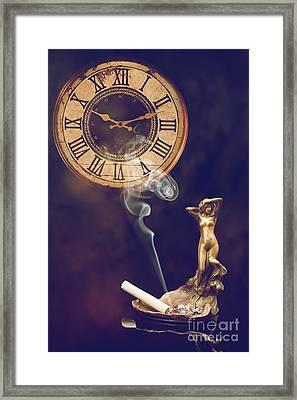 Antique Ashtray With Clock Framed Print by Amanda Elwell