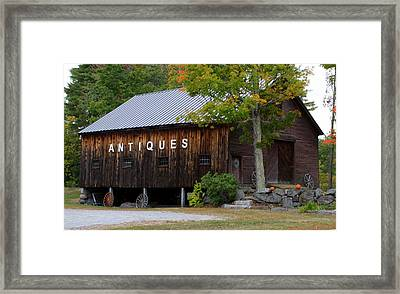 Antique Barn In Fall Framed Print by Lois Lepisto