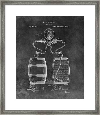 Antique Beer Pump Patent Framed Print by Dan Sproul