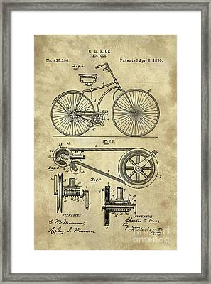 Antique Bicycle Blueprint Patent Drawing Plan, Industrial Farmhouse Framed Print by Tina Lavoie