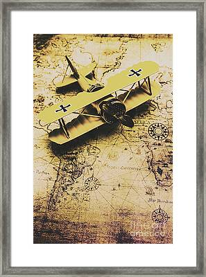 Antique Biplane On Old Map Framed Print by Jorgo Photography - Wall Art Gallery