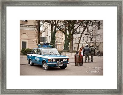 Antique Blue Militia Car View Framed Print