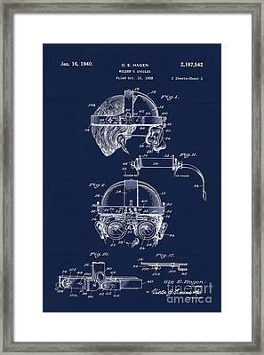 Antique Blueprint Welder's Goggles Framed Print