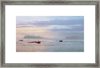 Antique Boat Rides Framed Print by Lori Deiter