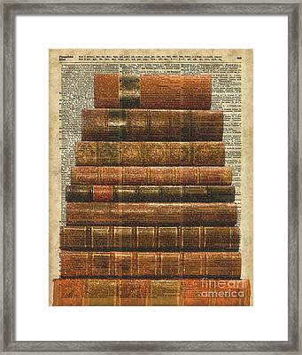 Antique Book Stock Digital Collage Dictionary Art Framed Print by Jacob Kuch