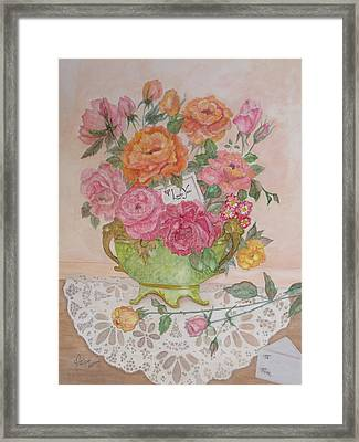 Antique Bowl With Roses Framed Print