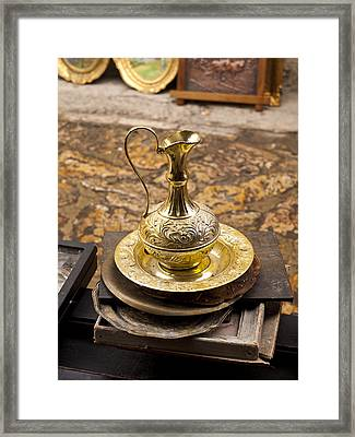 Antique Brass Pitcher Framed Print by Rae Tucker
