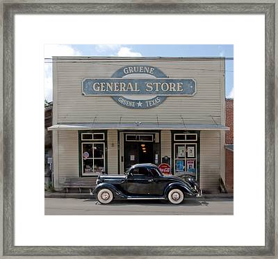 Antique Car At Gruene General Store Framed Print