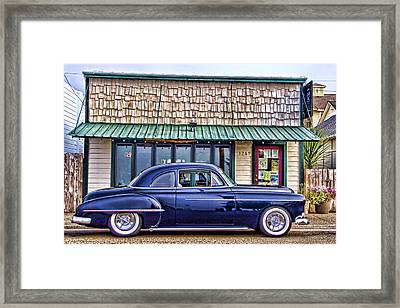 Antique Car - Blue Framed Print