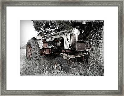 Antique Case Tractor Framed Print