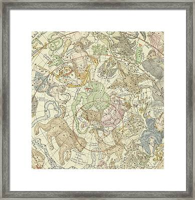 Antique Celestial Map Framed Print by Carel Allard