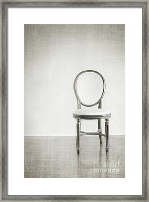 Antique Chair With Grunge Style Background Framed Print by Sandra Cunningham