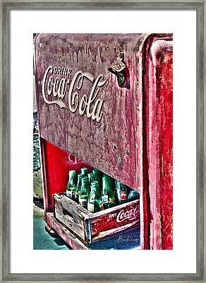 Antique Coca Cola Coke Refrigerator Framed Print