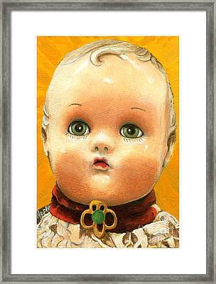Antique Doll Oil Painting Framed Print by Linda Apple