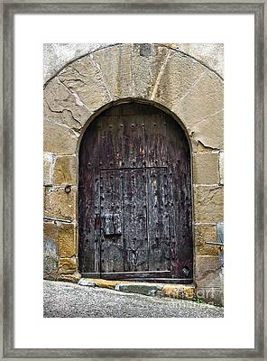 Antique Door With Cat Flap Framed Print by RicardMN Photography