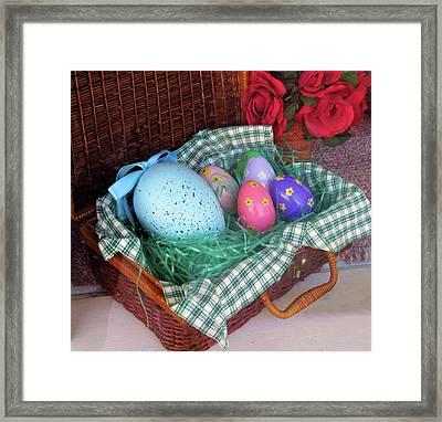 Antique Easter Basket Framed Print by Rosalie Scanlon