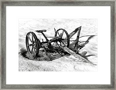 Antique Farm Machine In Winter Snow Framed Print by Olivier Le Queinec