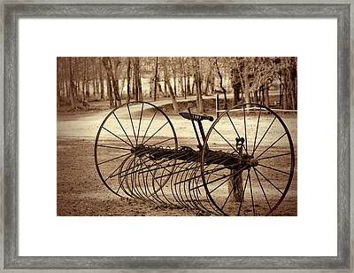 Antique Farm Rake In Sepia Framed Print