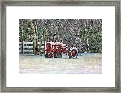Antique Farm Tractor Framed Print