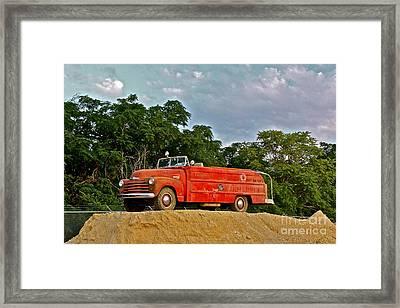 Antique Fire Truck - 8205 Framed Print