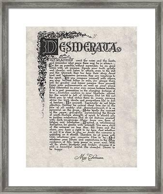 Antique Florentine Desiderata Poem By Max Ehrmann On Parchment Framed Print