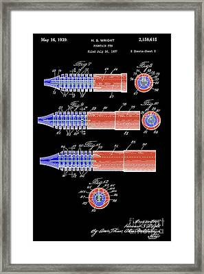 Antique Fountain Pen Patent, Year 1939, Red And Blue On Black Background Framed Print