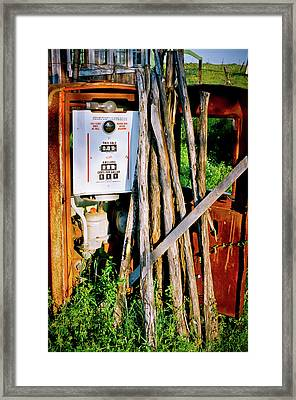 Antique Gas Pump Framed Print by Linda Unger