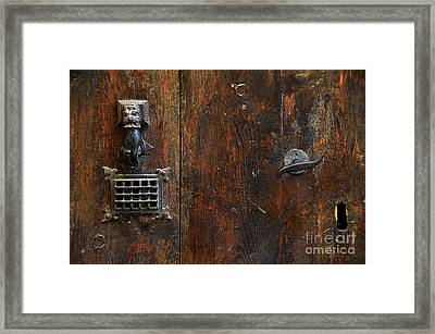 Antique Hand Door Knocker Spyhole Handle And Keyhole Framed Print by RicardMN Photography