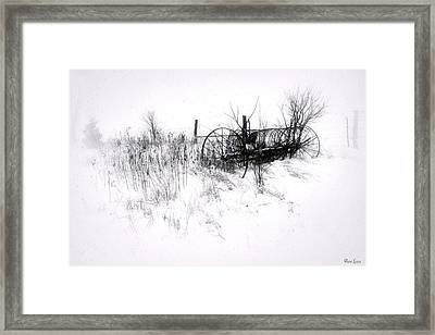 Antique Hay Rake In Snow Framed Print