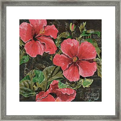 Antique Hibiscus Black 2 Framed Print by Debbie DeWitt