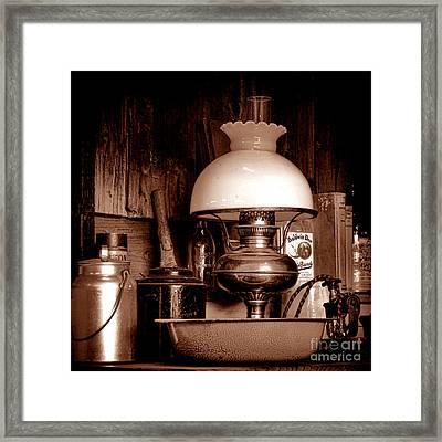 Antique Kerosene Lamp In A Kitchen Framed Print