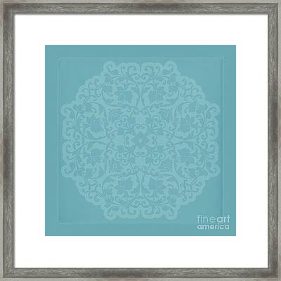 Antique Lace Silhouette In Deep Tiffany Blue Green Framed Print