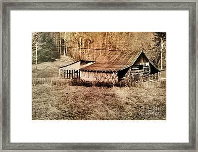 Antique Log Beam Barn Southern Indiana Framed Print by Scott D Van Osdol