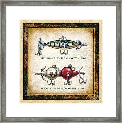 Antique Lure Panel Two Framed Print by JQ Licensing Jon Q Wright
