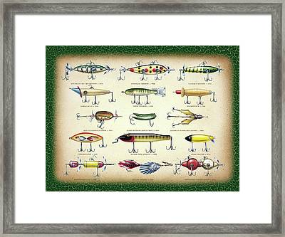 Antique Lures Green Crackle Framed Print by JQ Licensing