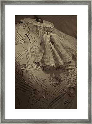 Antique Mannequin With Collage Of Vintage Papers Framed Print