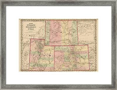 Antique Map - Colton's Wyoming Colorado And Utah 1876 Framed Print