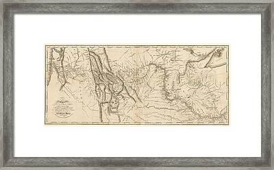Antique Map - Lewis And Clark's Track Across North America Framed Print