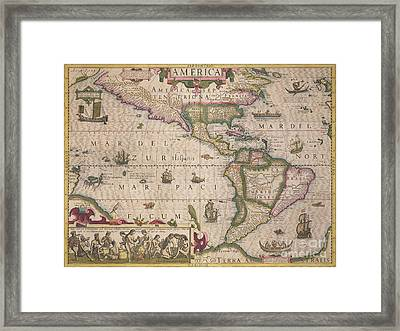 Antique Map Of America Framed Print