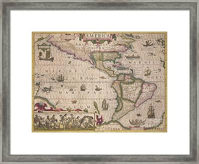 Antique Map Of America Framed Print by Jodocus Hondius