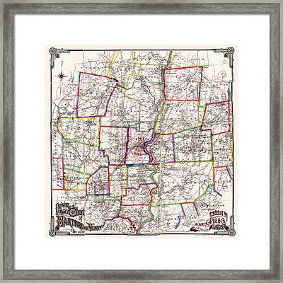 Horse Carriage Era Driving Map Of Hartford Connecticut Vicinity 1884 Framed Print by Phil Cardamone