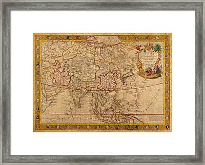 Antique Map Of Asia 1732 Vintage On Worn Canvas Framed Print
