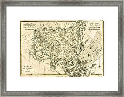 Antique Map Of Asia Framed Print by Guillaume Raynal