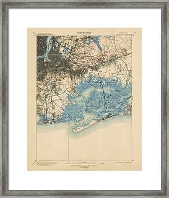 Framed Print featuring the drawing Antique Map Of Brooklyn And Queens - New York City - Usgs Topographic Map - 1900 by Blue Monocle