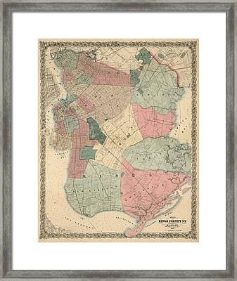 Antique Map Of Brooklyn - New York City - By M. Dripps - 1868 Framed Print