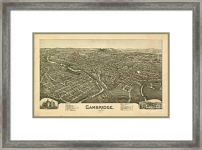 Antique Map Of Cambridge Framed Print